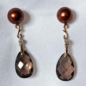 Smoky Quartz and Pearl 10K YG Earrings